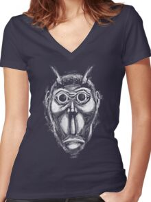 Cockroach humanoid (White ink) Women's Fitted V-Neck T-Shirt