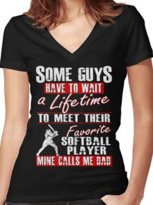 My Favorite Softball Player Calls Me Dad Women's Fitted V-Neck T-Shirt