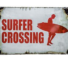 Vintage Surfer Crossing Sign by mrdoomits