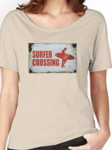 Vintage Surfer Crossing Sign Women's Relaxed Fit T-Shirt