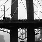 Tilikum Crossing and Ross Island Bridge (Portland) #2 by AmishElectricCo