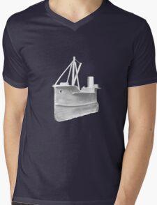 Knitted Boat Mens V-Neck T-Shirt