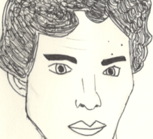 sketch of Bennedict Cumberbatch from sherlock Sticker