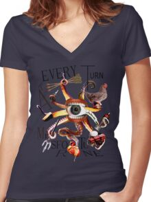 At Every Turn Misfortune Women's Fitted V-Neck T-Shirt