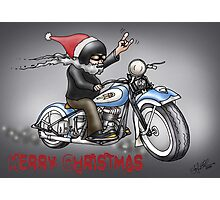 CHRISTMAS HARLEY STYLE MOTORCYCLE Photographic Print