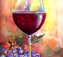 Wine With Friends By Artist Hannah Tiffin  by HannahTiffinArt