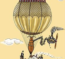 STEAMPUNK HOT AIR BALLOON CHRISTMAS STYLE by squigglemonkey
