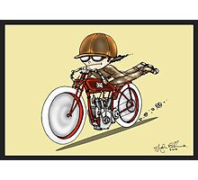 MOTORCYCLE EXCELSIOR STYLE (red and yellow) Photographic Print