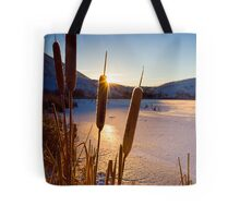 Frozen Cattail Sunrise Tote Bag