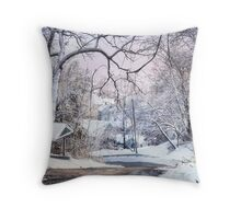 Snowy Day on 5th Street Throw Pillow