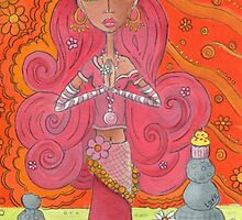 Pink Yoga Gypsy – Whimsical Folk Art Girl in Namaste Pose  by erica lubee  ~ SkyBlueWithDaisies