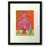 Pink Yoga Gypsy – Whimsical Folk Art Girl in Namaste Pose  Framed Print
