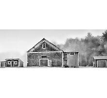 White Foggy Farm Photographic Print