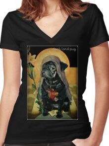 holy black Women's Fitted V-Neck T-Shirt