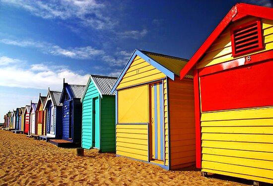 Brighton Beach Huts by Annette Blattman
