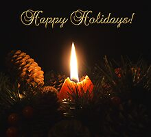 Happy Holidays Christmas Candle by Martie Venter