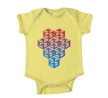 Penrose Cube Stack - Red Blue One Piece - Short Sleeve