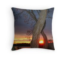TREE FRAMED SUNSET Throw Pillow