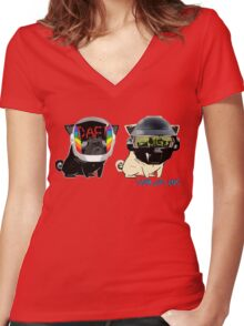 daft pugs Women's Fitted V-Neck T-Shirt