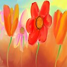 More Orange Flowers with One Pink Flower by Sarah Curtiss