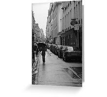 Woman in the Rain, Rue Jacob Greeting Card