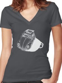 VW shadow in white Women's Fitted V-Neck T-Shirt