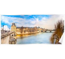 The Louvre On A Winter Day in Paris Poster