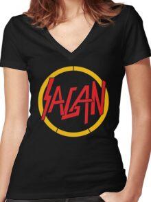 Sagan / Slayer (Monsters of Grok) Women's Fitted V-Neck T-Shirt