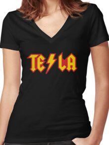 Tesla vs. AC/DC (Monsters of Grok) Women's Fitted V-Neck T-Shirt