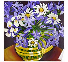Agapanthus & Daisies Poster