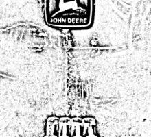 John Deere Tractor Black and White Chrome Photo Design Sticker