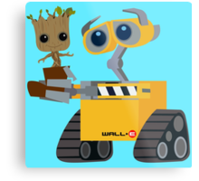 WALL-E and Groot Metal Print