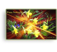 Extra Terrestrial Daffodils Birthday Card Canvas Print