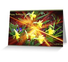 Extra Terrestrial Daffodils Birthday Card Greeting Card