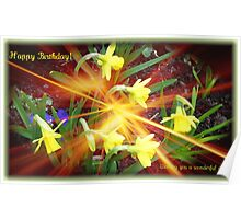 Extra Terrestrial Daffodils Birthday Card Poster