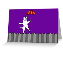 Fence Cat 2 Greeting Card
