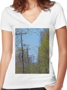 Telephone Poles Women's Fitted V-Neck T-Shirt