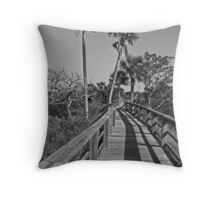 Fence, Shadows & Palm Trees Throw Pillow