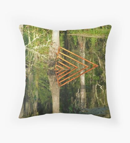 Fence In Water Throw Pillow