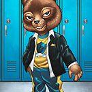 Cool For School Cat Drawing by Al Rio by alrioart