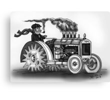 VINTAGE STEAMPUNK TRACTOR (BLACK AND WHITE) Canvas Print