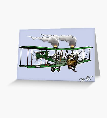 WORLD WAR ONE BOMBER AEROPLANE VICKERS VIMY STYLE STEAMPUNK Greeting Card