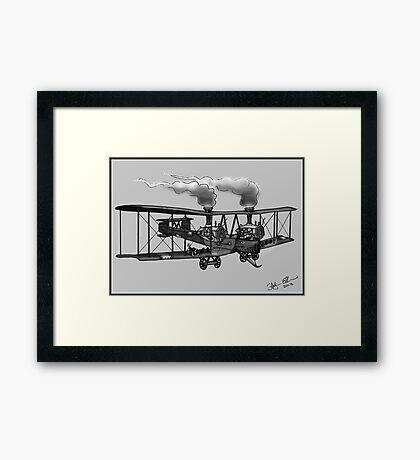 WW1 VICKERS VIMY AEROPLANE BOMBER STEAMPUNK (BLACK AND WHITE) Framed Print