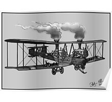 WW1 VICKERS VIMY AEROPLANE BOMBER STEAMPUNK (BLACK AND WHITE) Poster