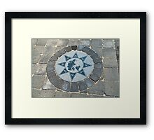 Compass directions wind rose Framed Print
