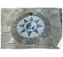 Compass directions wind rose Poster