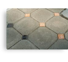 Details of geometric gray stone garden tiles Canvas Print