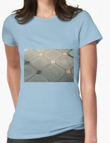 Details of geometric gray stone garden tiles Womens Fitted T-Shirt