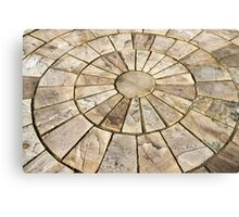 Display of stone floor tiles circle Canvas Print