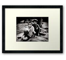 Angkor boys Framed Print